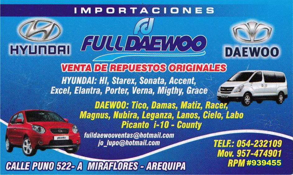 Autos En Venta >> Full Daewoo Venta de Repuestos en Arequipa